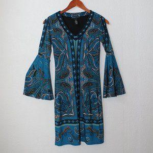 INC International Cold-Shoulder Paisley Dress